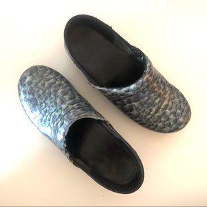 Dansko Iridescent Blue Cobblestone Snake Clogs